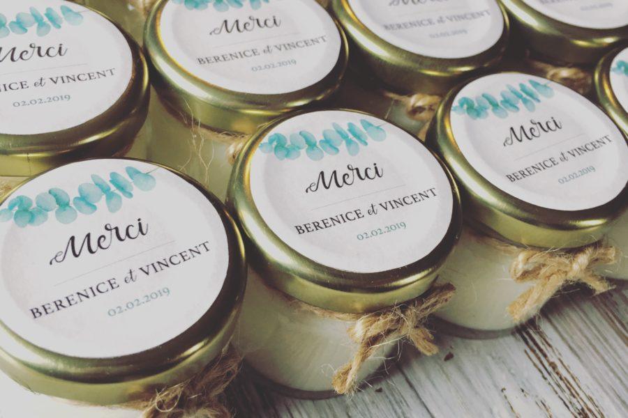 Bougies Parfumées Cadeaux pour invités: Mariage de Bérénice et Vincent