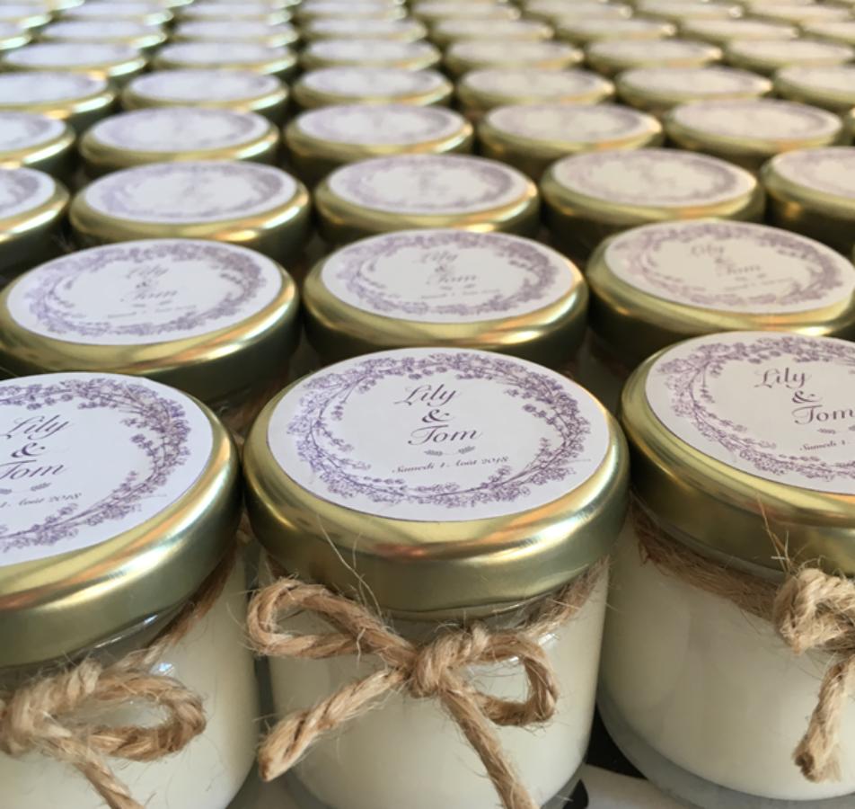 Bougies Parfumées Cadeaux pour invités: Mariage de Lily et Tom