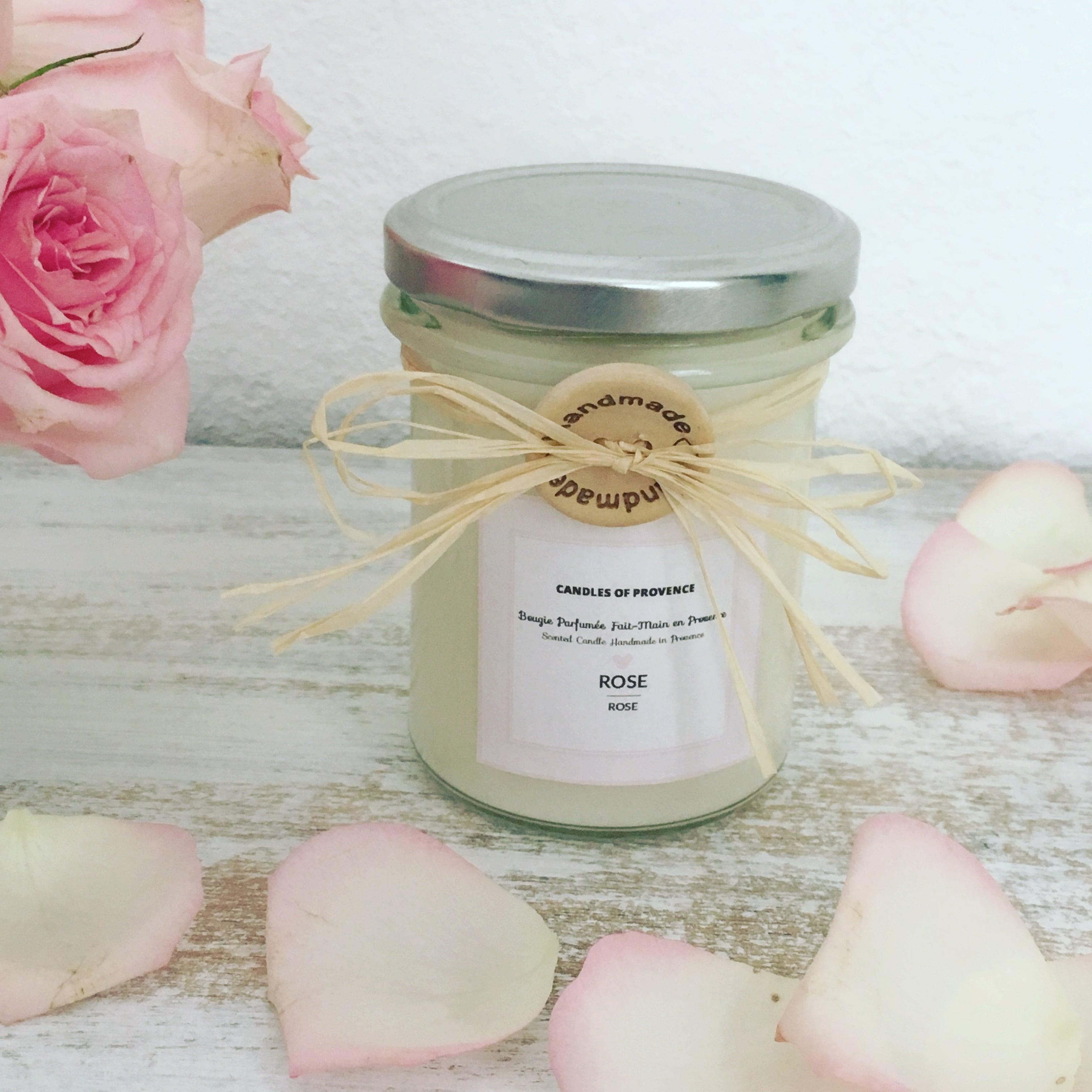 ROSE - Natural Scented Candle in Glass Jar - 170g - Bougies ...