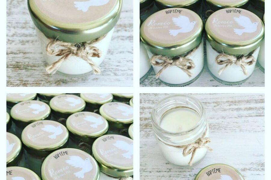 Bougies Parfumées Personnalisées Cadeaux pour invités: Baptême Roméo