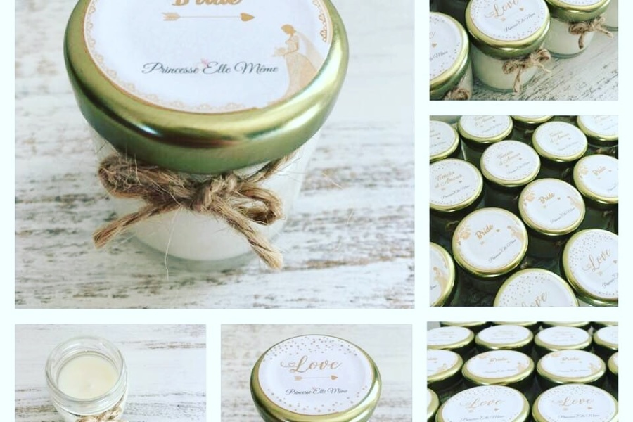 Bougies Parfumées Personnalisées Faveurs de Mariage Princesse Elle Même